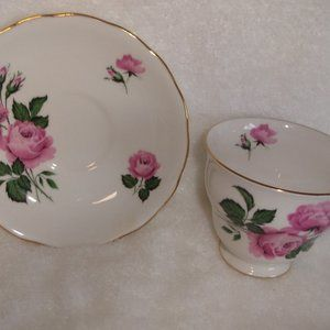Queen Anne cup saucer bone china pink roses